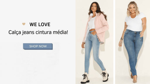 calça jeans flare cintura média